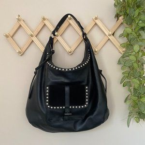 ZARA Large Slouchy Hobo Black Studded Bag